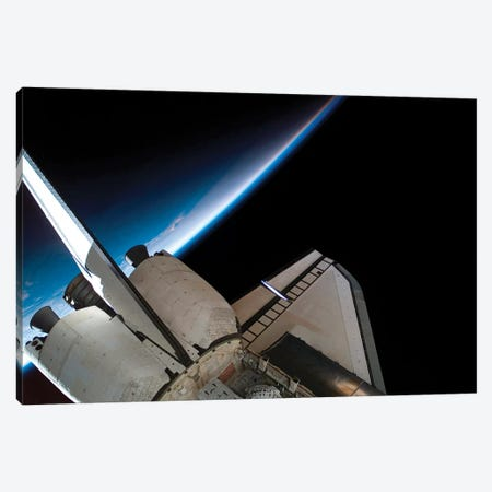 Space Shuttle Endeavour Backdropped By Space And Earth's Horizon Canvas Print #TRK1679} by Stocktrek Images Canvas Print