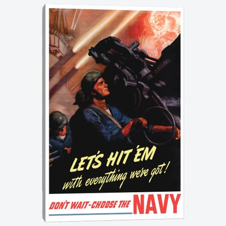 WWII Poster Of Sailors Firing Anti-Aircraft Guns Canvas Print #TRK167} by John Parrot Art Print