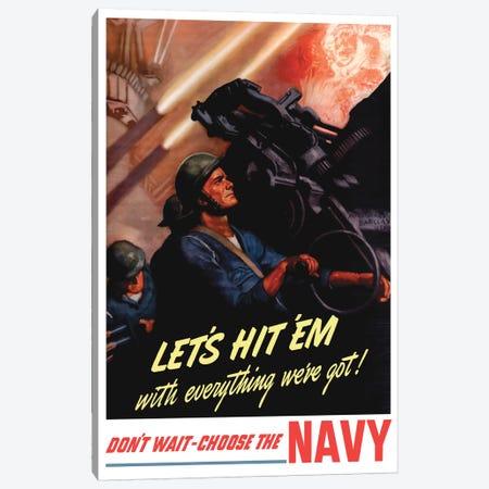 WWII Poster Of Sailors Firing Anti-Aircraft Guns Canvas Print #TRK167} by John Parrot Art Print