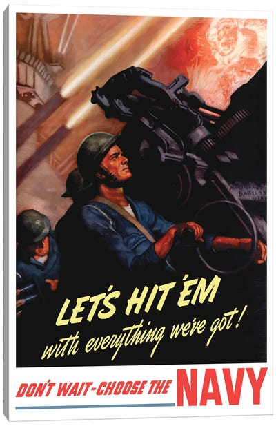 WWII Poster Of Sailors Firing Anti-Aircraft Guns Canvas Art Print