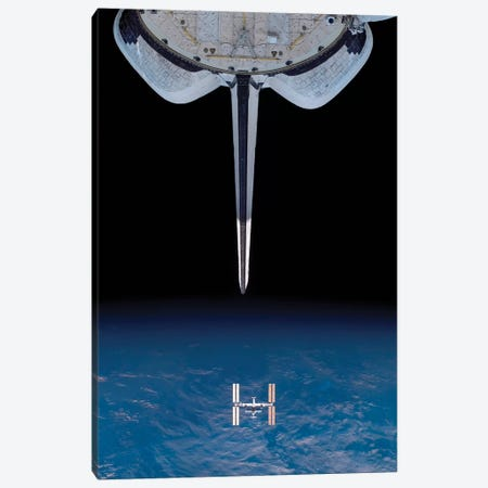 Space Shuttle Endeavour Departs From The International Space Station Canvas Print #TRK1680} by Stocktrek Images Canvas Art
