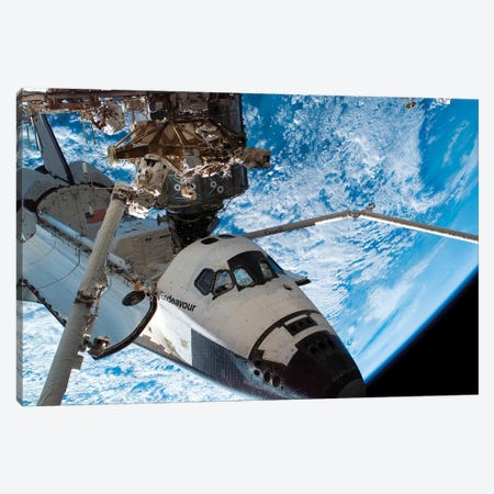 Space Shuttle Endeavour Docked To The Destiny Laboratory Of The International Space Station Canvas Print #TRK1681} by Stocktrek Images Canvas Wall Art