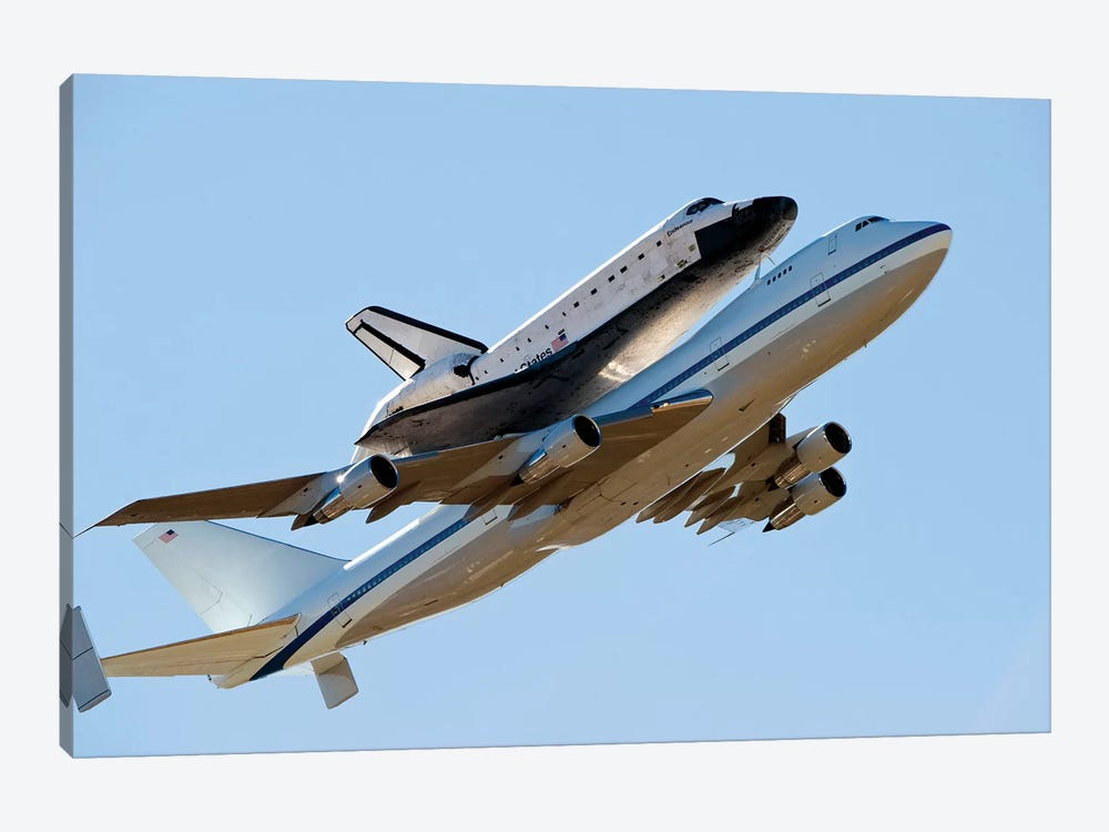 Space Shuttle Endeavour Mounted On A Modified Boeing 747 Shuttle Carrier Aircraft by Stocktrek Images 1-piece Canvas Art Print
