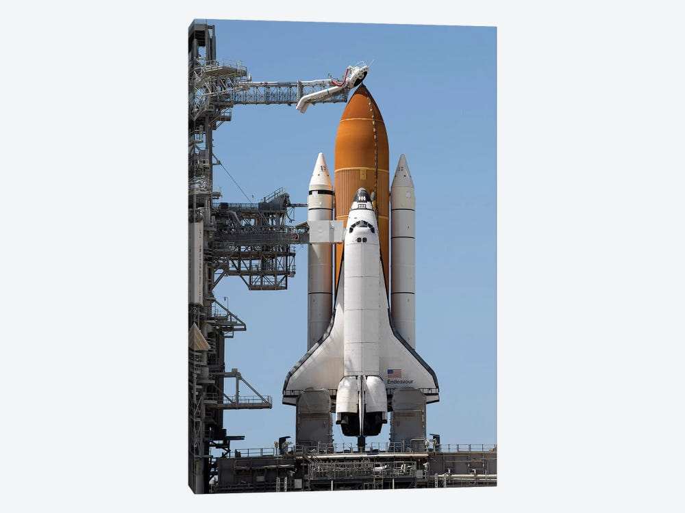 Space Shuttle Endeavour On The Launch Pad At Kennedy Space Center II by Stocktrek Images 1-piece Canvas Art Print