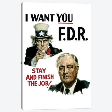 WWII Poster Of Uncle Sam And President Franklin Roosevelt Canvas Print #TRK169} by John Parrot Canvas Art