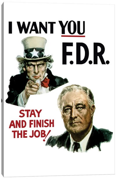 WWII Poster Of Uncle Sam And President Franklin Roosevelt Canvas Art Print