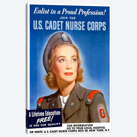Join The US Cadet Nurse Corps Vintage Poster I Canvas Print #TRK16} by John Parrot Canvas Art