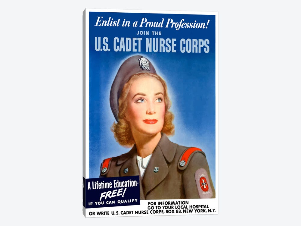 Join The US Cadet Nurse Corps Vintage Poster I by John Parrot 1-piece Canvas Artwork