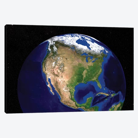 The Blue Marble Next Generation Earth Showing North America Canvas Print #TRK1707} by Stocktrek Images Canvas Art