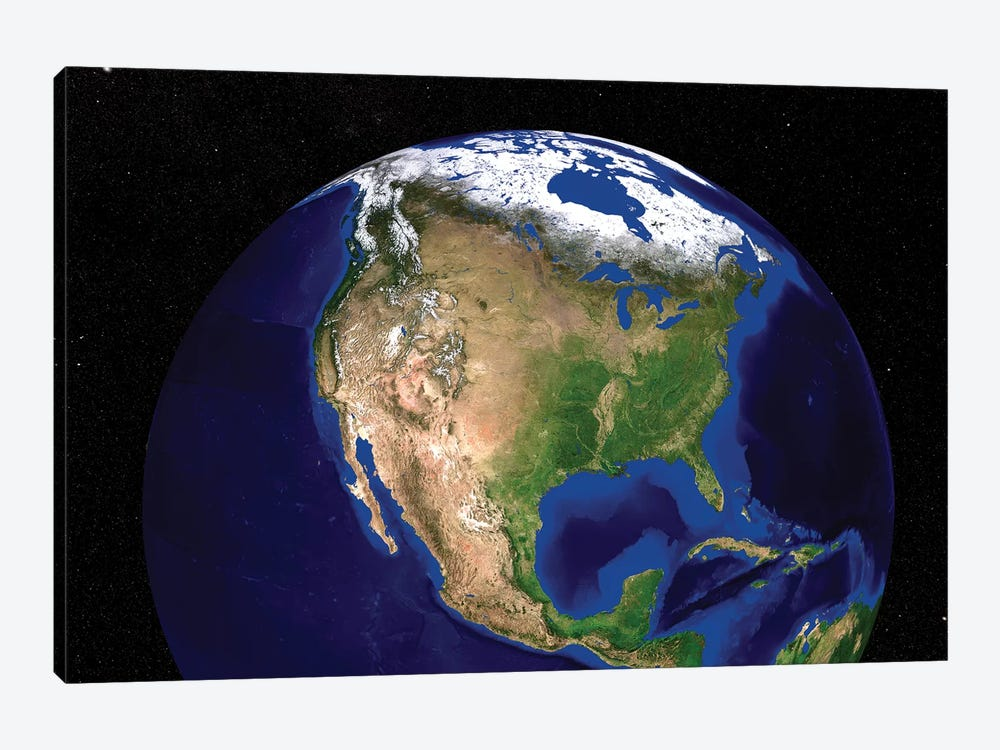 The Blue Marble Next Generation Earth Showing North America by Stocktrek Images 1-piece Canvas Print