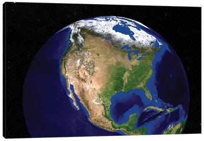 The Blue Marble Next Generation Earth Showing North America Canvas Art Print