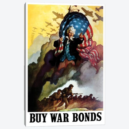 WWII Poster Of Uncle Sam Holding An American Flag And Urging Troops Into Battle Canvas Print #TRK170} by John Parrot Art Print