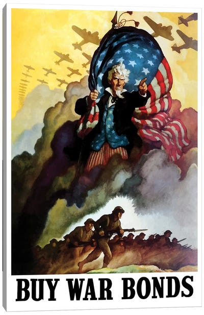 WWII Poster Of Uncle Sam Holding An American Flag And Urging Troops Into Battle Canvas Art Print
