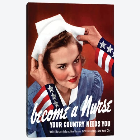 WWII Poster Of Uncle Sam Placing A Hat On A Smiling Nurse Canvas Print #TRK171} by John Parrot Canvas Print