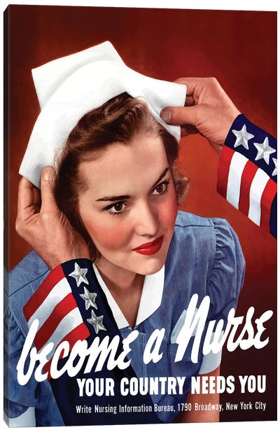 WWII Poster Of Uncle Sam Placing A Hat On A Smiling Nurse Canvas Art Print