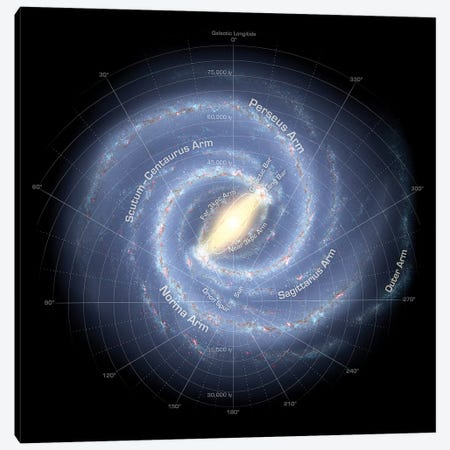 The Milky Way Galaxy (Annotated) Canvas Print #TRK1728} by Stocktrek Images Art Print