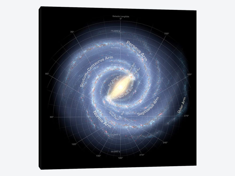 The Milky Way Galaxy (Annotated) by Stocktrek Images 1-piece Canvas Wall Art