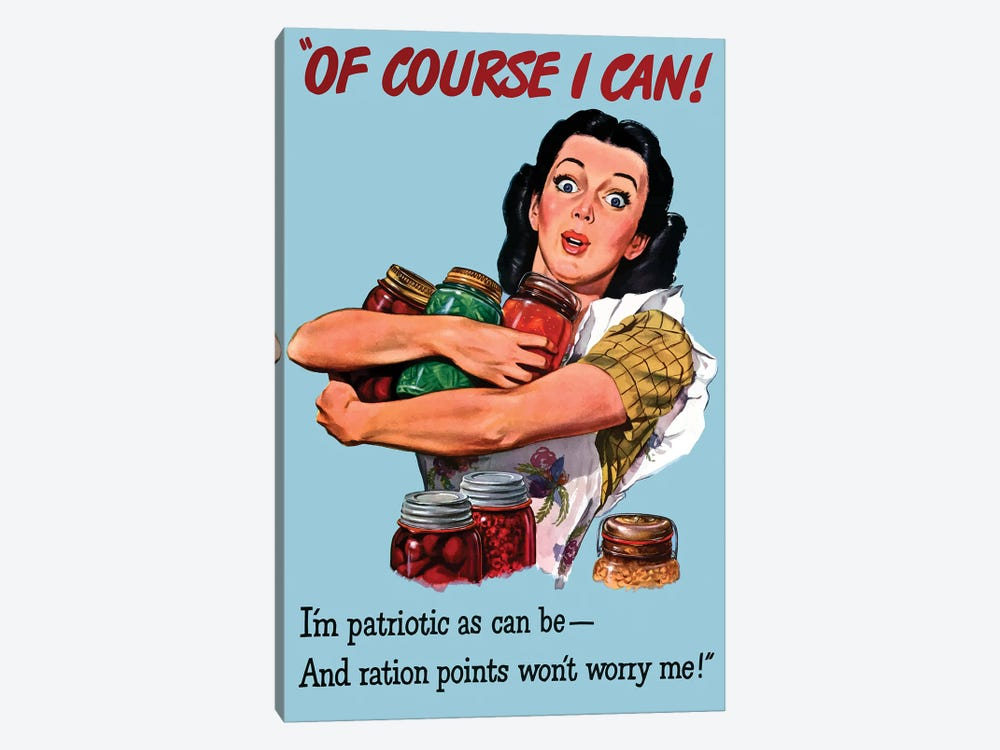WWII Poster Patriotic Rationing by John Parrot 1-piece Canvas Wall Art