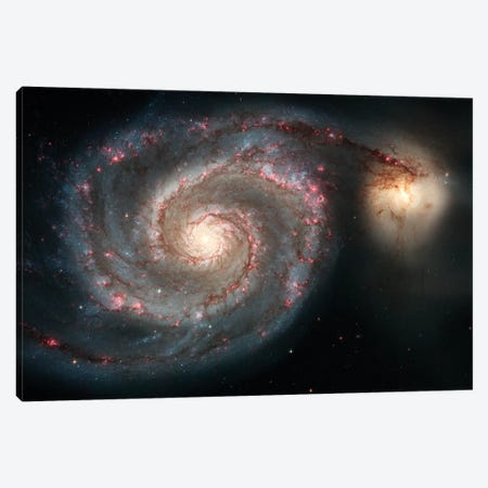 The Whirlpool Galaxy (M51) And Companion Galaxy Canvas Print #TRK1743} by Stocktrek Images Canvas Art Print