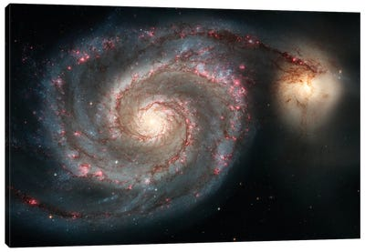 The Whirlpool Galaxy (M51) And Companion Galaxy Canvas Art Print