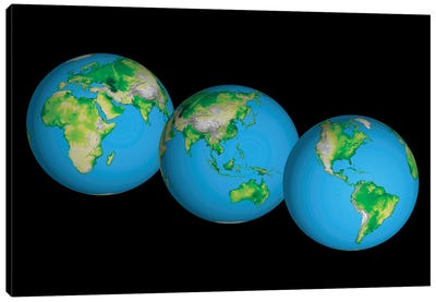 Topographic Views Of The World Canvas Art Print