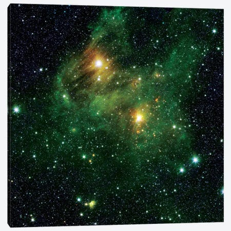 Two Extremely Bright Stars Illuminate A Greenish Mist In Deep Space Canvas Print #TRK1752} by Stocktrek Images Canvas Wall Art