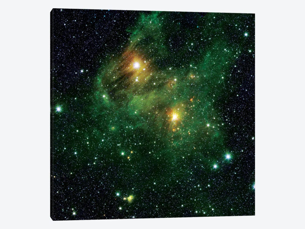 Two Extremely Bright Stars Illuminate A Greenish Mist In Deep Space by Stocktrek Images 1-piece Canvas Print