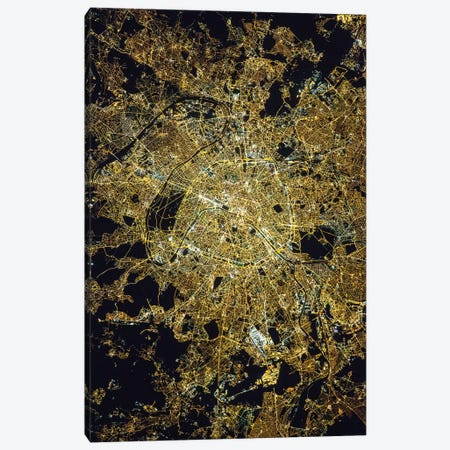 View From Space Of Paris, France, Showing The Pattern Of The Street Grid And City Lights At Night Canvas Print #TRK1756} by Stocktrek Images Canvas Print