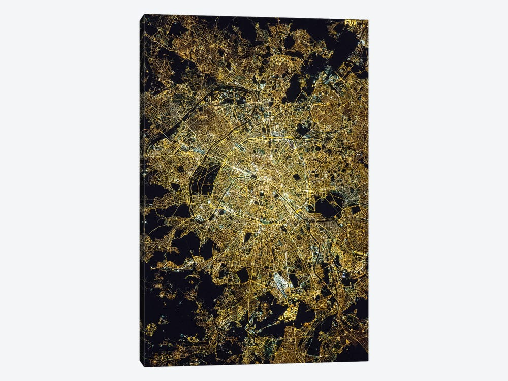 View From Space Of Paris, France, Showing The Pattern Of The Street Grid And City Lights At Night by Stocktrek Images 1-piece Canvas Art Print