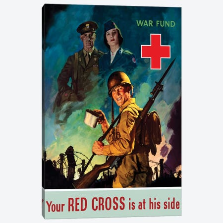 WWII Poster Red Cross Canvas Print #TRK175} by John Parrot Canvas Art