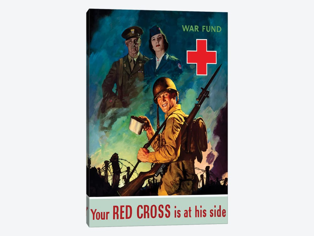 WWII Poster Red Cross by John Parrot 1-piece Canvas Artwork