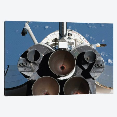 View Of The Three Main Engines Of Space Shuttle Endeavour's Aft Section Canvas Print #TRK1763} by Stocktrek Images Canvas Art Print
