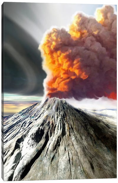 A Volcano Comes To Life With Billowing Smoke Canvas Art Print