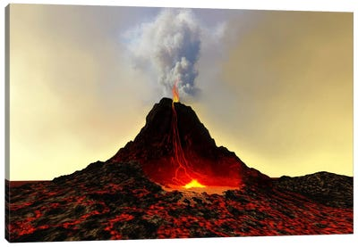An Active Volcano Spews Out Hot Red Lava And Smoke Canvas Art Print