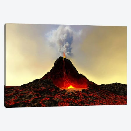 An Active Volcano Spews Out Hot Red Lava And Smoke Canvas Print #TRK1773} by Corey Ford Canvas Artwork