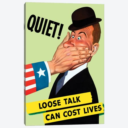 WWII Poster Showing The Hand Of Uncle Sam Covering The Mouth Of A Man Canvas Print #TRK177} by John Parrot Canvas Art