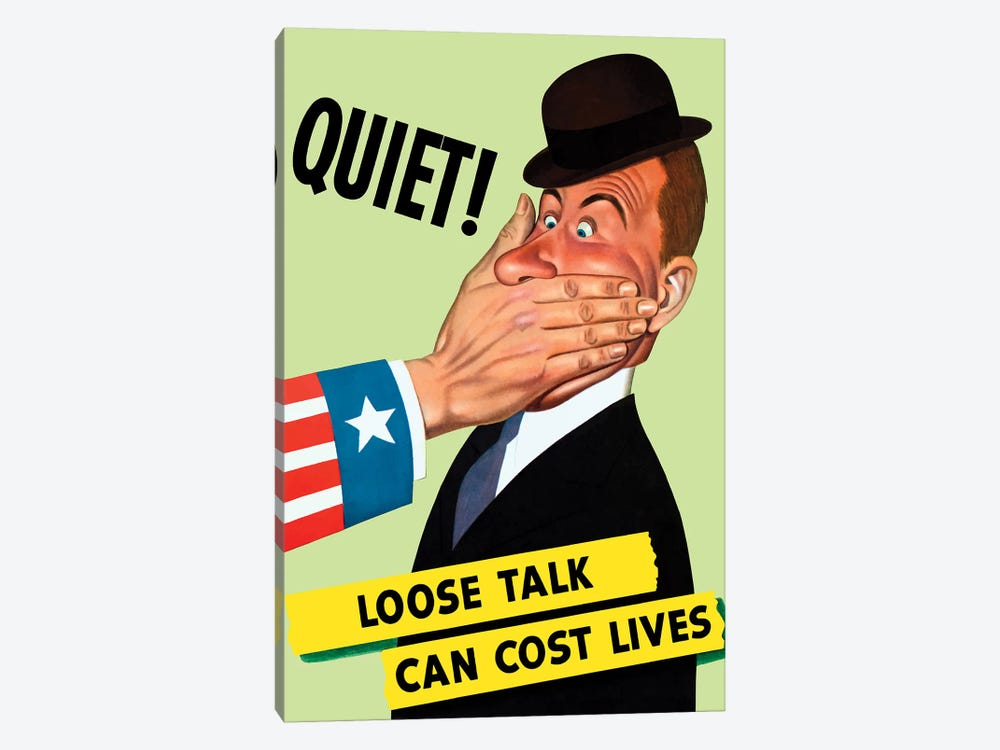 WWII Poster Showing The Hand Of Uncle Sam Covering The Mouth Of A Man by John Parrot 1-piece Canvas Artwork