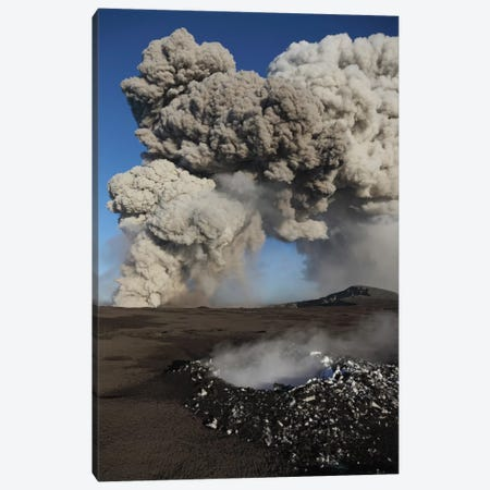 Eyjafjallajökull Eruption, Steaming Lava Bomb Impact Crater, Iceland Canvas Print #TRK1781} by Martin Rietze Art Print