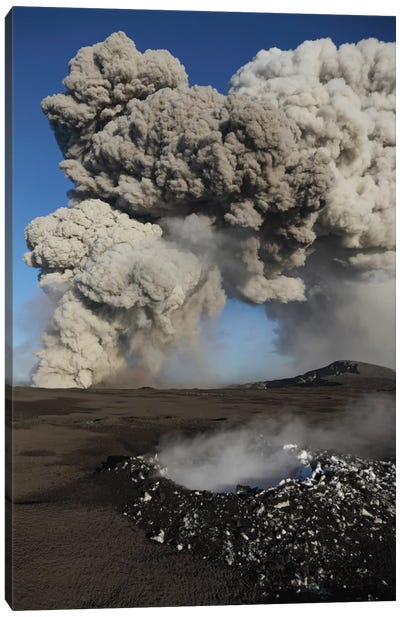 Eyjafjallajökull Eruption, Steaming Lava Bomb Impact Crater, Iceland Canvas Art Print