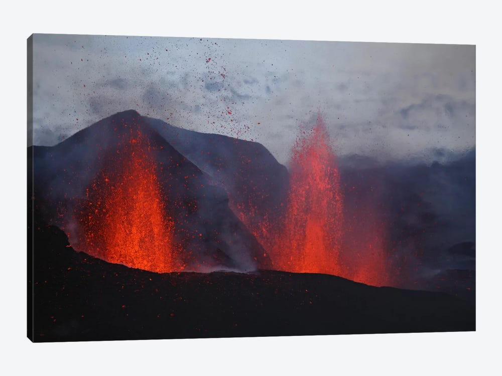 Fimmvörduháls Eruption, Lava Fountains, Eyjafjallajökull, Iceland I by Martin Rietze 1-piece Canvas Print