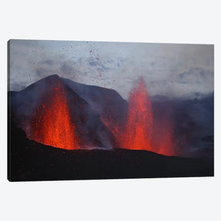 Fimmvörduháls Eruption, Lava Fountains, Eyjafjallajökull, Iceland I Canvas Print #TRK1787} by Martin Rietze Canvas Wall Art