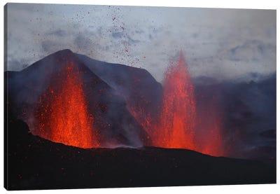 Fimmvörduháls Eruption, Lava Fountains, Eyjafjallajökull, Iceland I Canvas Art Print