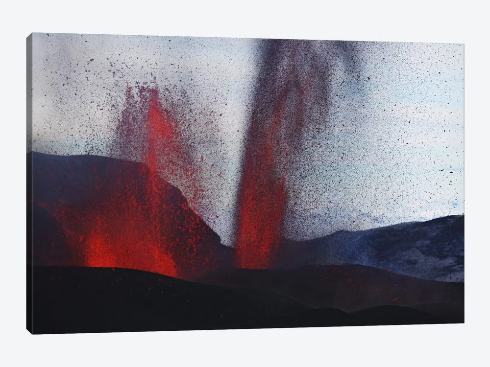 Fimmvörduháls Eruption, Lava Fountains, Eyjafjallajökull, Iceland III 1-piece Canvas Art Print