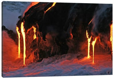 Kilauea Lava Flow Sea Entry, Big Island, Hawaii II Canvas Art Print