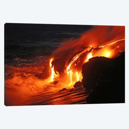 Kilauea Lava Flow Sea Entry, Big Island, Hawaii III Canvas Print #TRK1796} by Martin Rietze Canvas Art Print