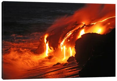 Kilauea Lava Flow Sea Entry, Big Island, Hawaii III Canvas Art Print