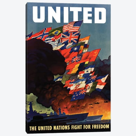 WWII Poster The United Nations Fight For Freedom Canvas Print #TRK179} by John Parrot Art Print