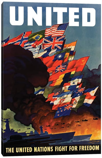 WWII Poster The United Nations Fight For Freedom Canvas Art Print