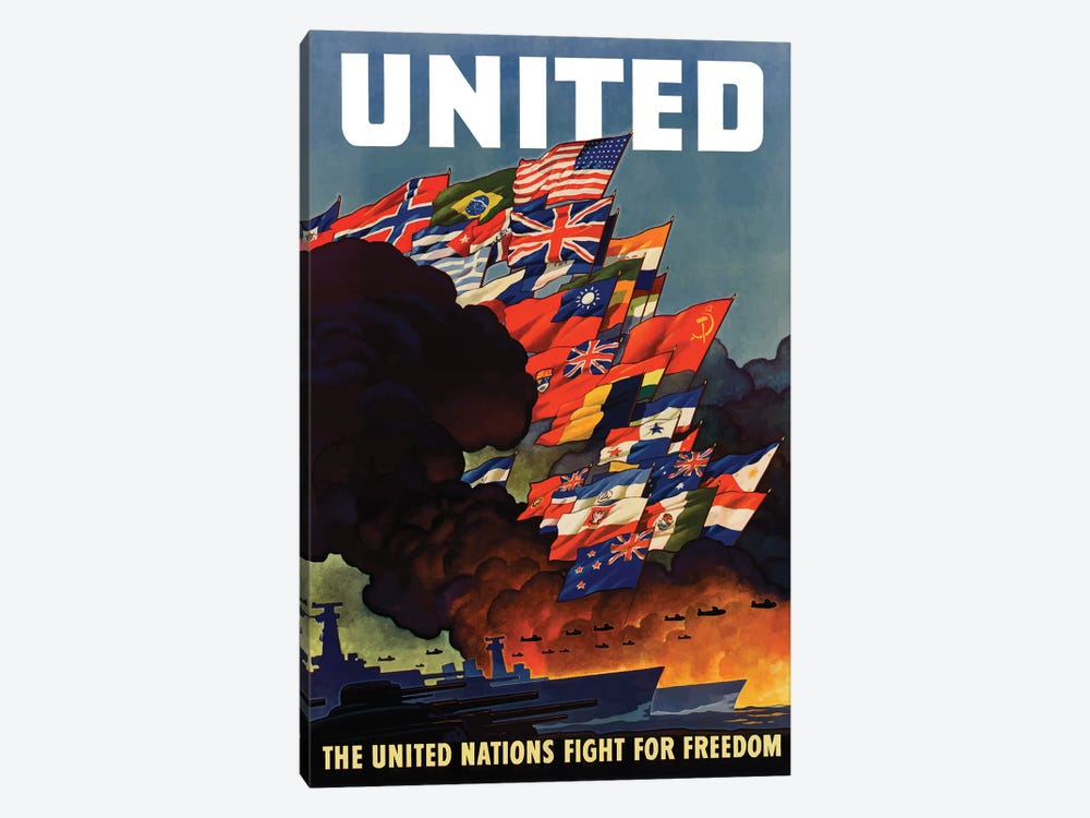 WWII Poster The United Nations Fight For Freedom by John Parrot 1-piece Canvas Artwork