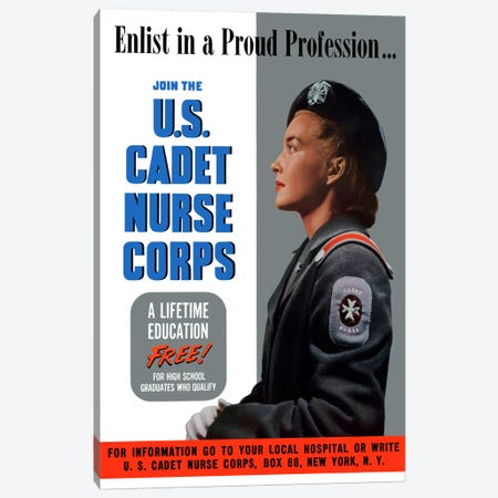 Join The US Cadet Nurse Corps Vintage Poster II Canvas Print #TRK17} by John Parrot Canvas Artwork